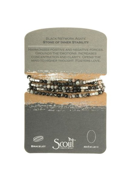 Scout Curated Wears Black Network Agate Stone Wrap Bracelet/Necklace