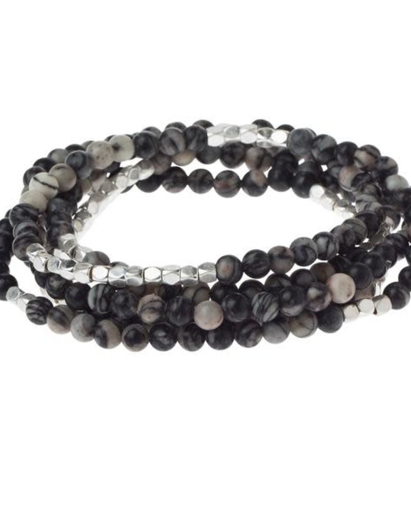 Scout Curated Wears Scout Black Network Agate Stone Wrap Bracelet/Necklace