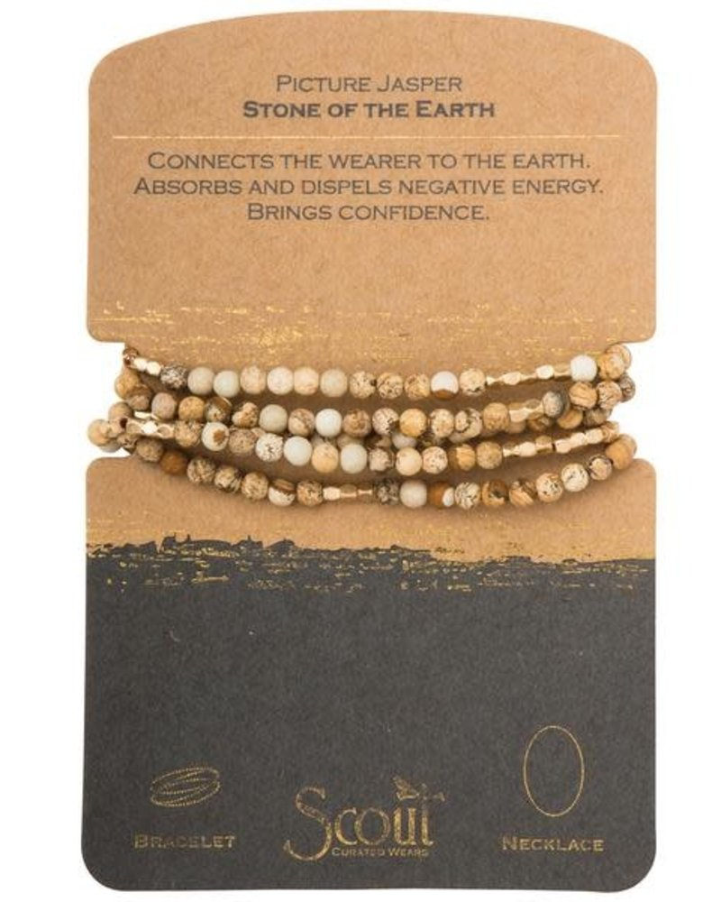 Scout Curated Wears Scout Picture Jasper & Gold Stone Wrap Bracelet/Necklace