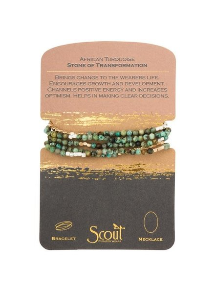 Scout Curated Wears African Turquoise Stone Wrap Bracelet/Necklace