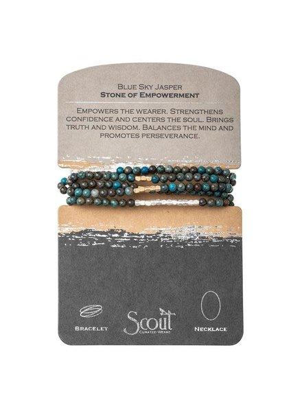 Scout Curated Wears Blue Sky Jasper & Gold Stone Wrap Bracelet/Necklace