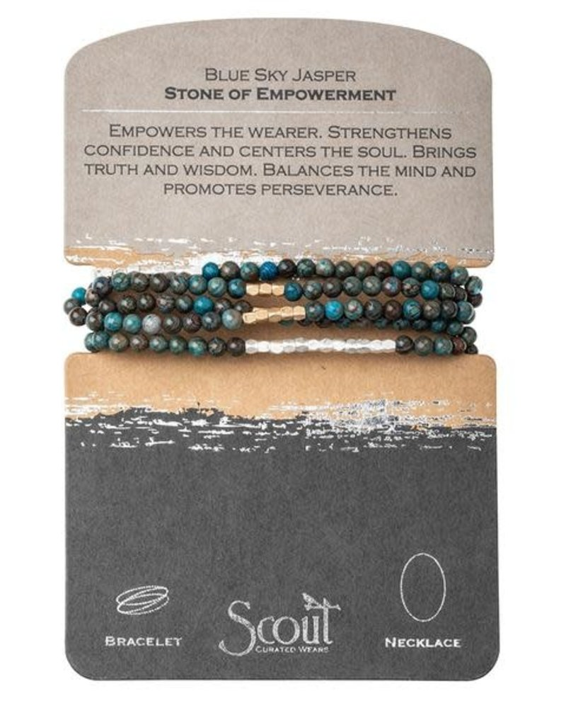 Scout Curated Wears Scout Blue Sky Jasper & Gold Stone Wrap Bracelet/Necklace