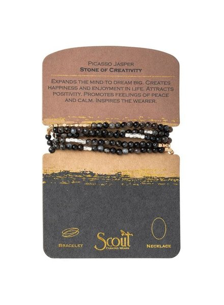 Scout Curated Wears Picasso Jasper & Gold Stone Wrap Bracelet/Necklace