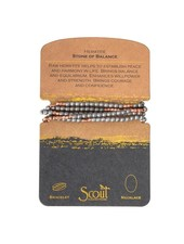 Scout Curated Wears Raw Hematite & Rose Gold Stone Wrap Bracelet/Necklace