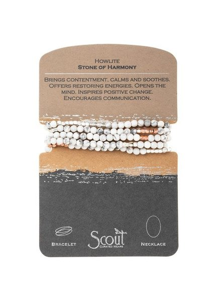 Scout Curated Wears Howlite & Rose Gold Stone Wrap Bracelet/Necklace