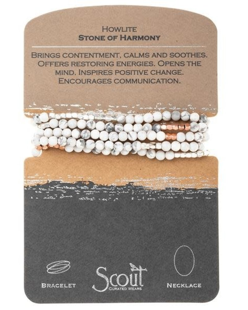 Scout Curated Wears Scout Howlite & Rose Gold Stone Wrap Bracelet/Necklace
