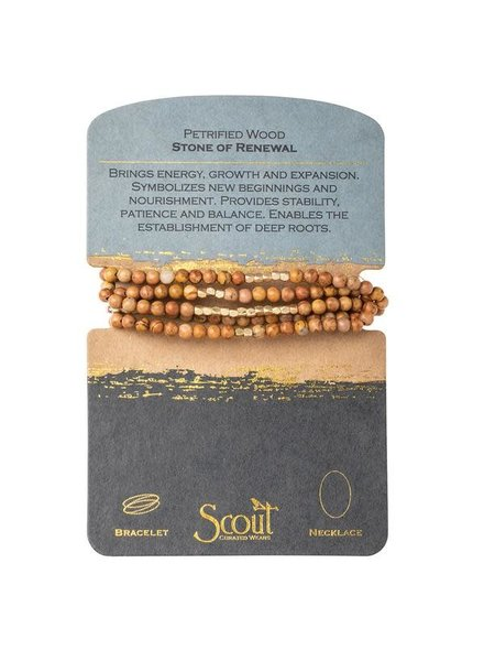 Scout Curated Wears Petrified Wood Stone Wrap Bracelet/Necklace