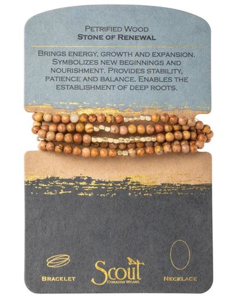 Scout Curated Wears Scout Petrified Wood & Gold Stone Wrap Bracelet/Necklace