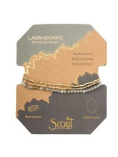 Scout Curated Wears Black Labradorite & Gold Delicate Stone Wrap Bracelet/Necklace