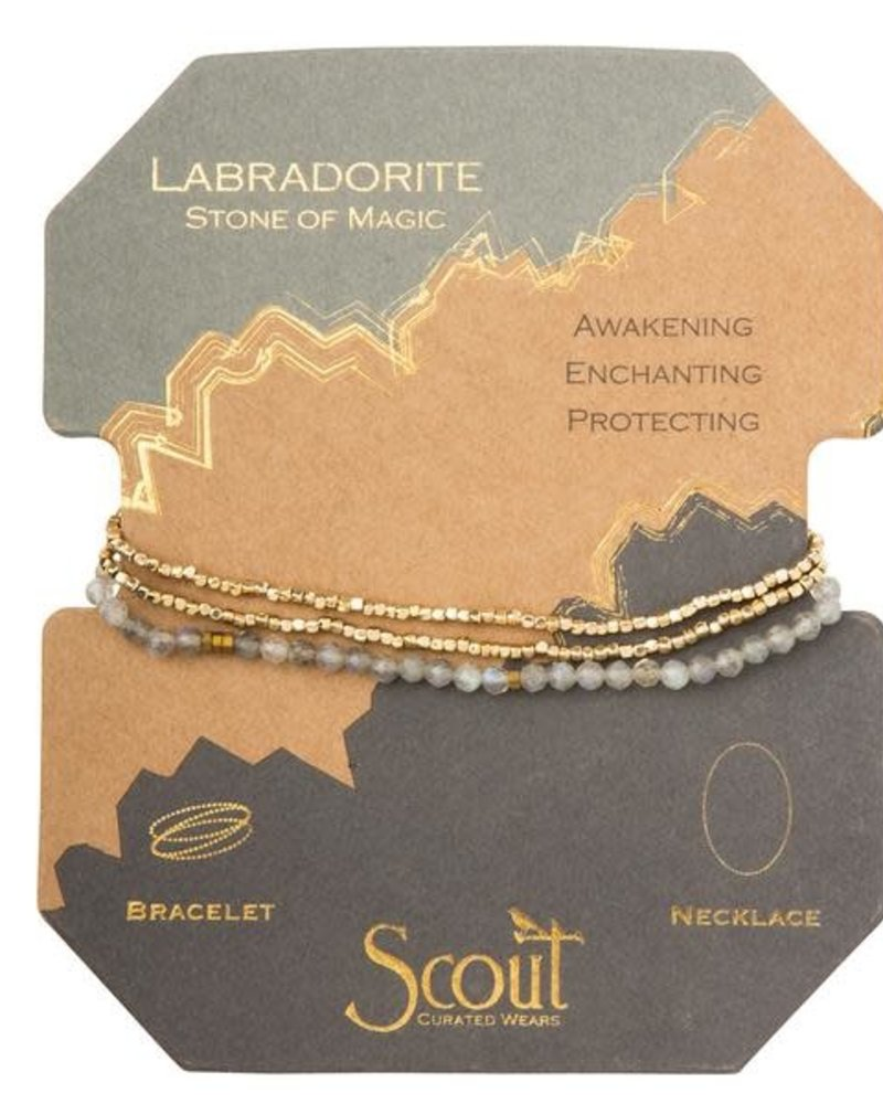 Scout Curated Wears Scout Labradorite & Gold Delicate Stone Wrap Bracelet/Necklace