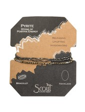 Scout Curated Wears Black Pyrite & Silver Delicate Stone Wrap Bracelet/Necklace