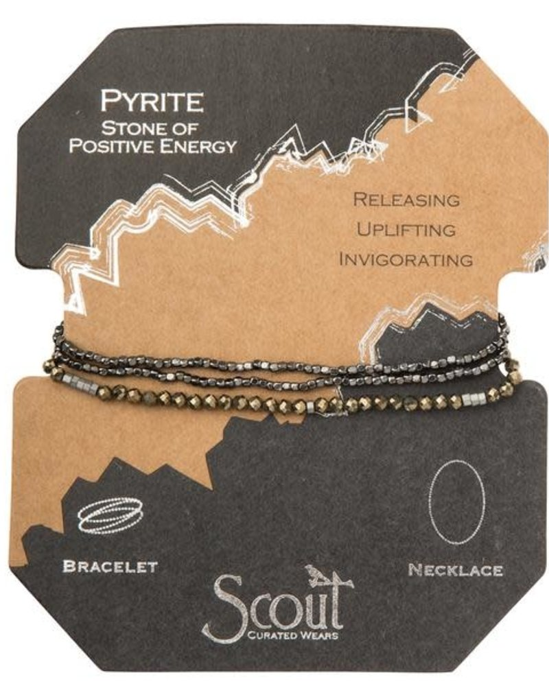 Scout Curated Wears Scout Black Pyrite & Silver Delicate Stone Wrap Bracelet/Necklace