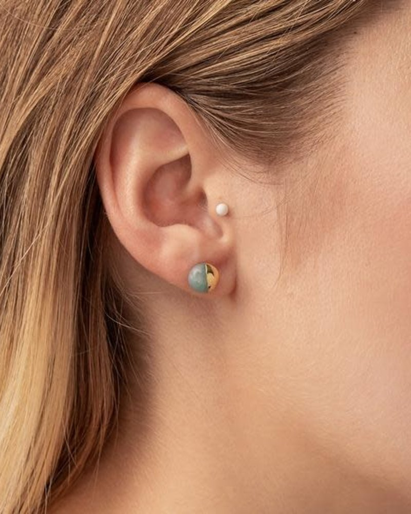 Scout Curated Wears Scout Labradorite & Gold Dipped Stone Stud Earrings