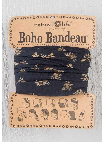 Natural Life Boho Bandeau in Black & Cream Floral