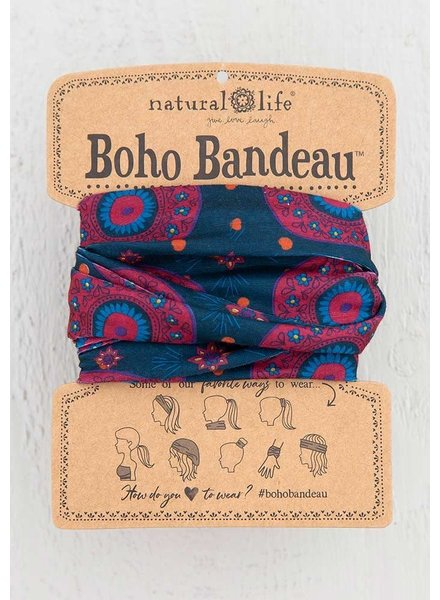 Natural Life Boho Bandeau in Navy Berry Medallion