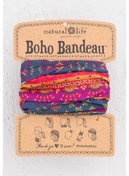 Natural Life Boho Bandeau in Navy Red Flower Mandala