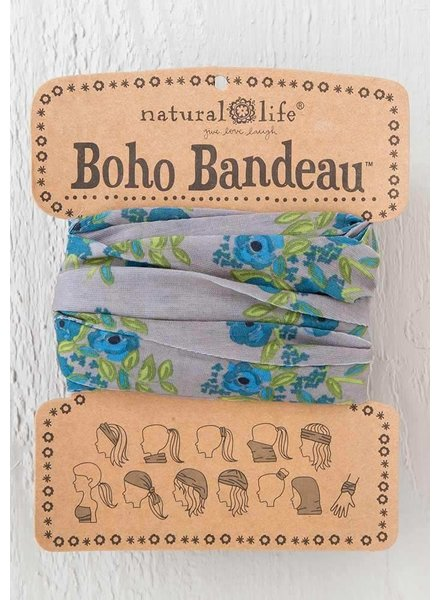 Natural Life Boho Bandeau in Taupe Blue Blooms