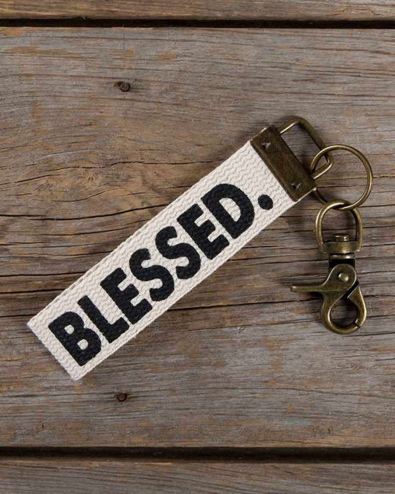 Natural Life Natural Life 'Blessed' Canvas Keychain