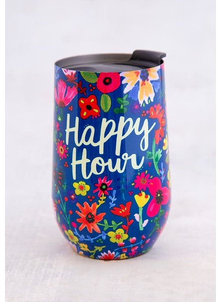 Natural Life Blue Floral 'Happy Hour' Wine Tumbler
