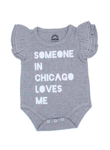 Emerson & Friends Flutter Sleeve 'Someone In Chicago Loves Me' Onesie