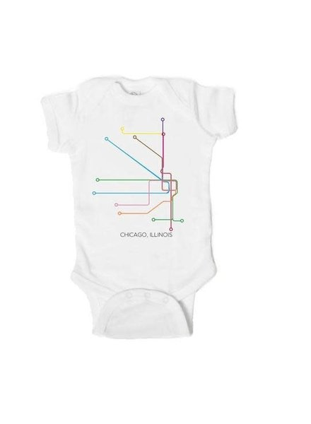 Emerson & Friends Short Sleeve CTA 'EL' Lines Onesie
