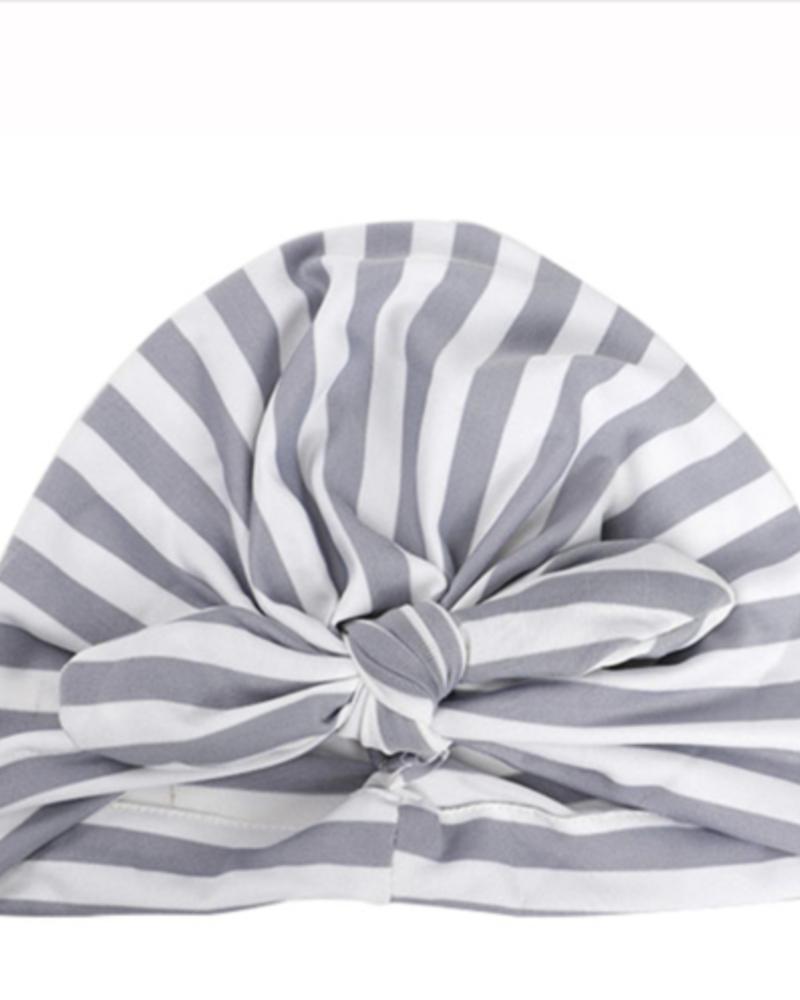 Emerson & Friends Emerson & Friends Grey Striped Baby Turban