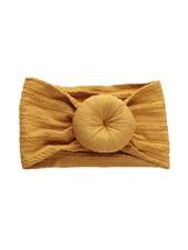 Emerson & Friends Mustard Cable Knit Bun Baby Headband