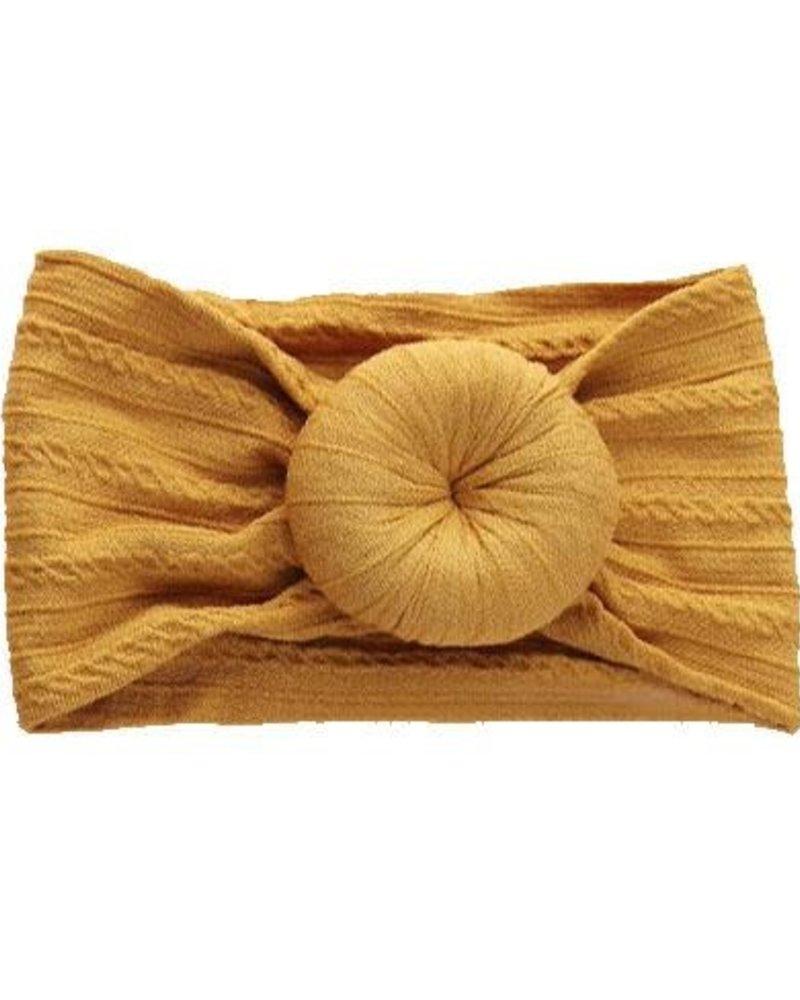 Emerson & Friends Emerson & Friends Mustard Cable Knit Bun  Baby Headband