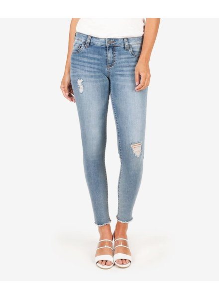 Kut from the Kloth 'Connie' Skinny Ankle Step Fray Hem Jeans in Unperturbed (Size 2)