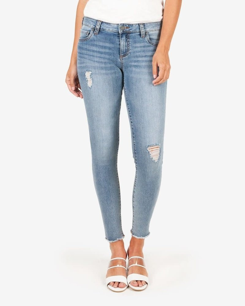 Kut from the Kloth Kut from the Kloth 'Connie' Skinny Ankle Step Fray Hem Jeans in Unperturbed (Size 2)