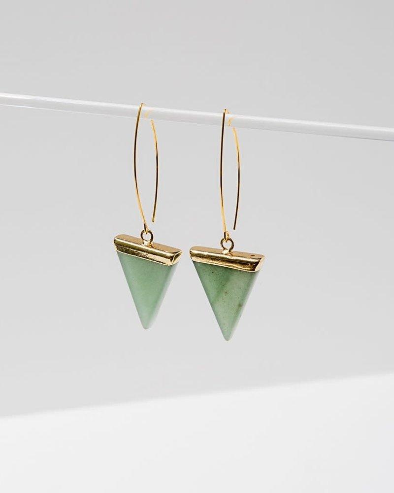 Larissa Loden Larissa Loden Green Aventurine 'Triune' Earrings