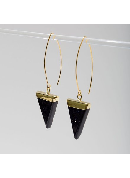 Larissa Loden Blue Goldstone 'Triune' Earrings