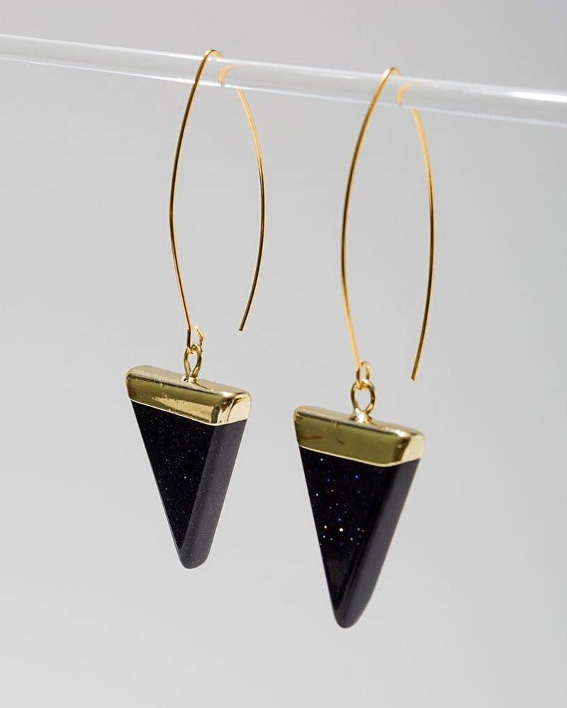 Larissa Loden Larissa Loden Blue Goldstone 'Triune' Earrings