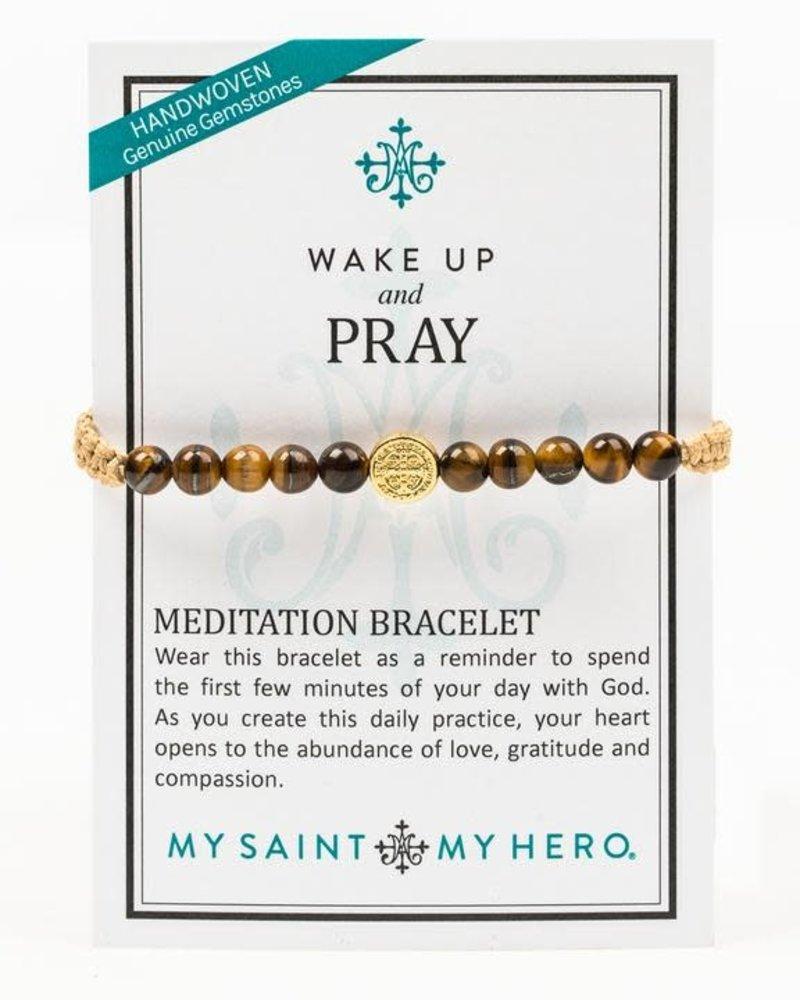 My Saint My Hero My Saint My Hero Gold 'Wake Up & Pray' Meditation Bracelet
