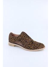 All Black 'Cowman' Fur Cutout Shoe in Leopard