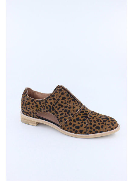 All Black 'Cowman' Fur Cutout Shoe in Leopard