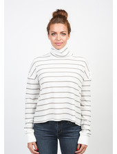 Articles of Society Striped 'Button Shoulder' Turtleneck Top