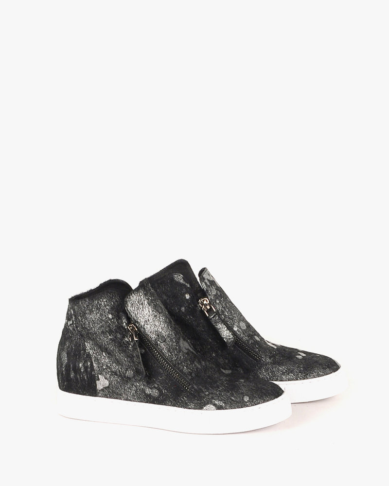 All Black All Black Fur Top & Zip Sneaker