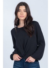 Everly Black 'Twisted Waist' Top