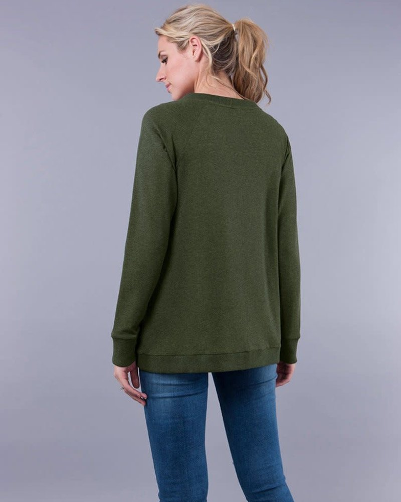Seraphine Maternity Seraphine Maternity Olive 'Sybil' Front Wrap Sweater