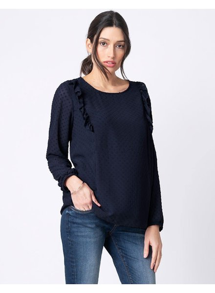Seraphine Maternity 'Cersei' Textured Frill Nursing Blouse