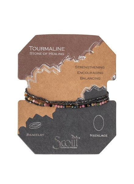Scout Curated Wears Tourmaline & Hematite  Delicate Stone Wrap Bracelet/Necklace