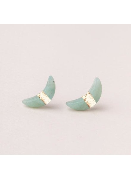 Scout Curated Wears Amazonite Crescent Moon Stud Earrings