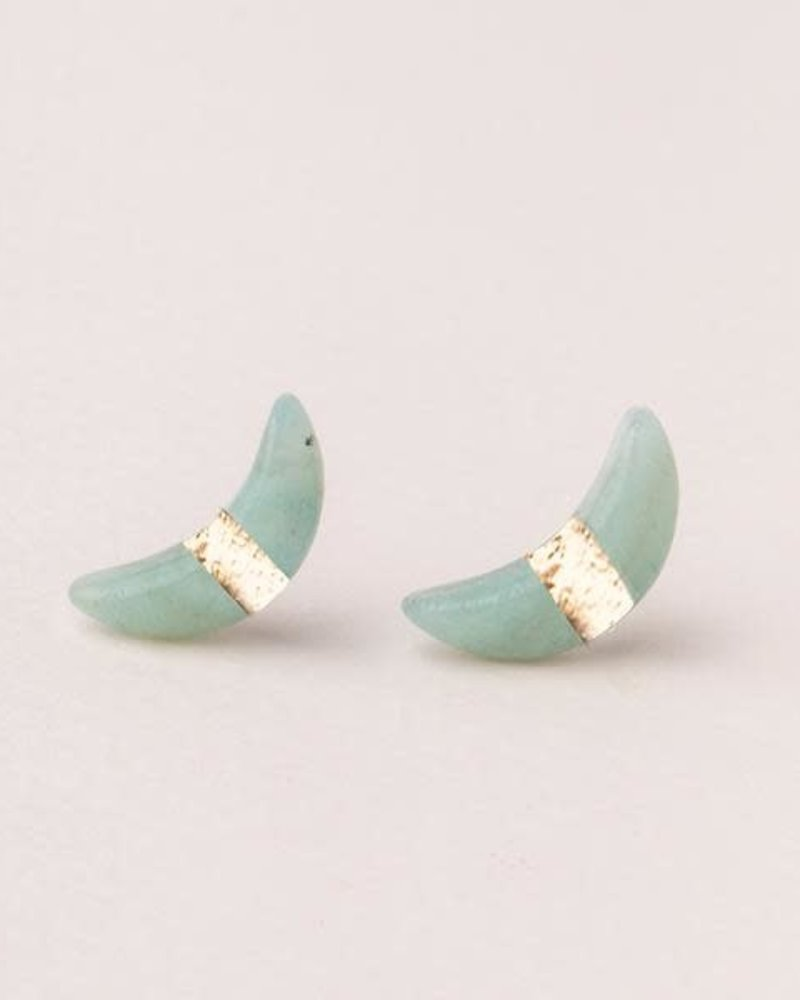 Scout Curated Wears Scout Amazonite Crescent Moon Stud Earrings
