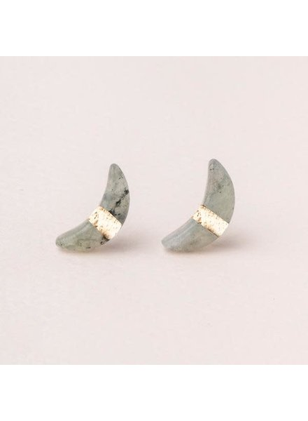 Scout Curated Wears Labradorite Crescent Moon Stud Earrings