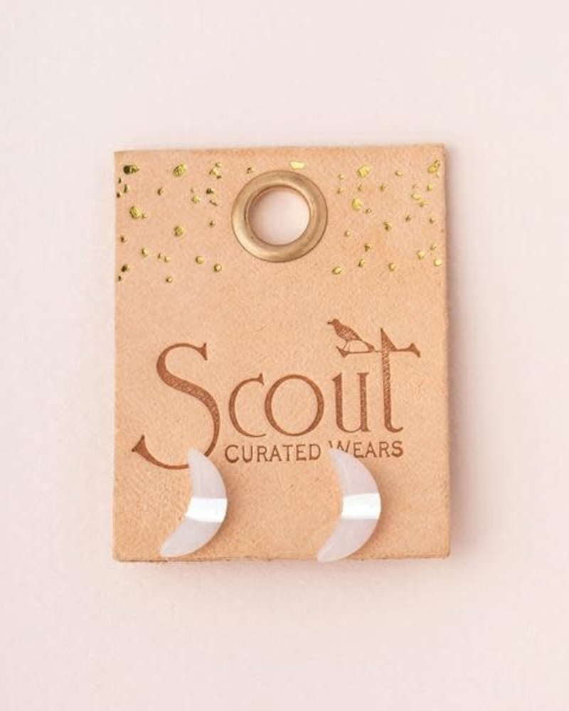 Scout Curated Wears Scout Lapis & Silver Crescent Moon Stud Earrings