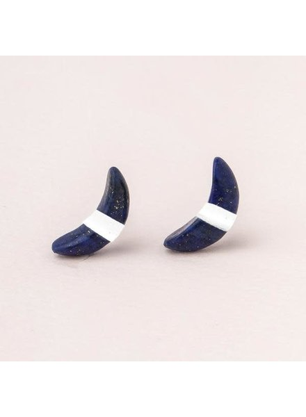 Scout Curated Wears Lapis Crescent Moon Stud Earrings