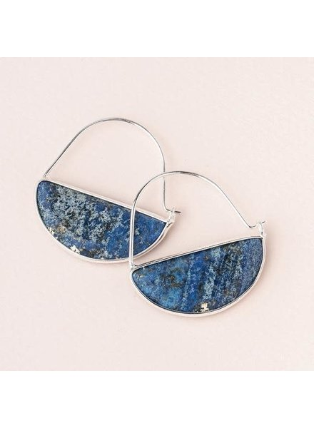 Scout Curated Wears Lapis & Silver Stone Prism Hoop Earrings