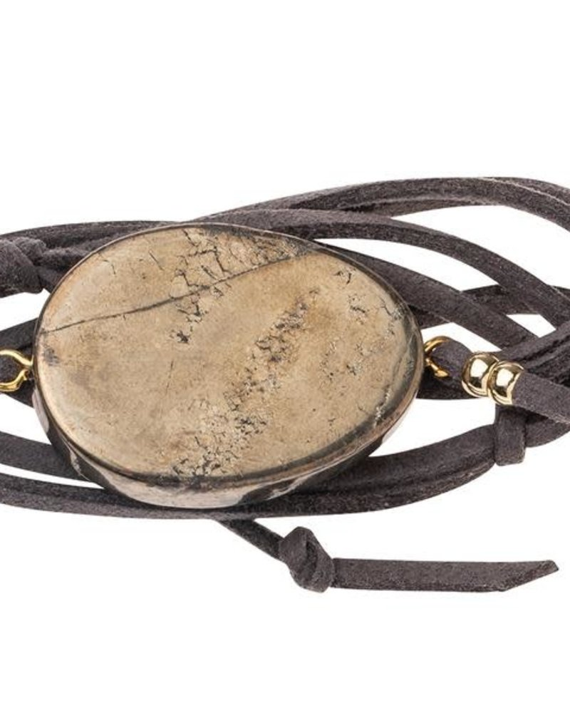 Scout Curated Wears Scout Pyrite & Gold Suede & Stone Wrap Bracelet/Necklace