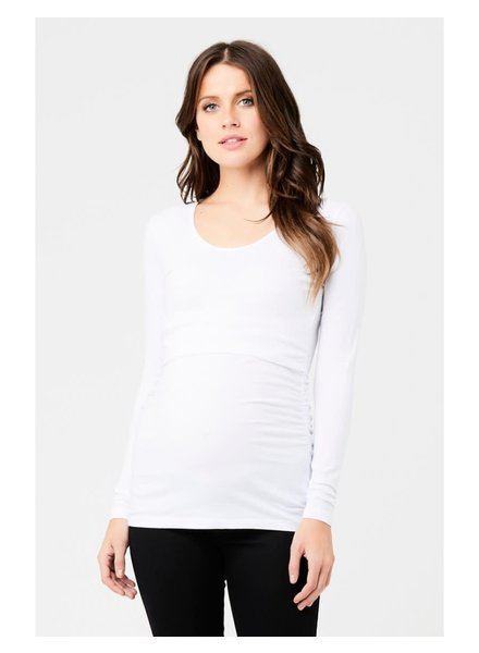 Ripe White 'Ali' Up/Down Long Sleeve Nursing Tee